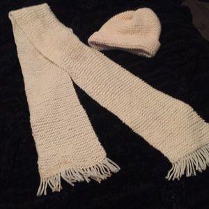 Handmade cream colored fringe scarf with beanie